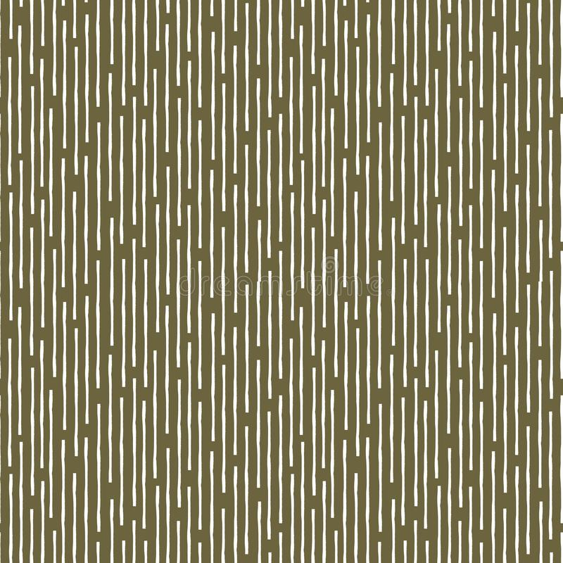 Vertical broken up grunge lines in random geometric tribal design. Seamless vector pattern on earthy brown background. Great for wellbeing, food products vector illustration