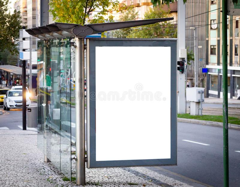 Vertical Bus Stop Advertisement Mockup. Street, Day. Copy Space.  stock images