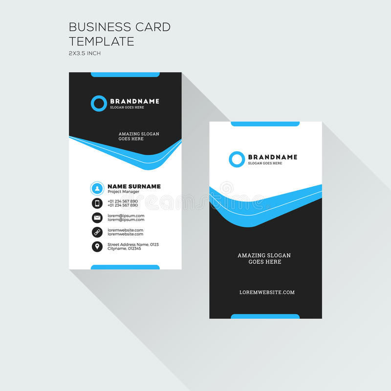 Vertical Business Card Print Template. Personal Visiting Card Wi ...