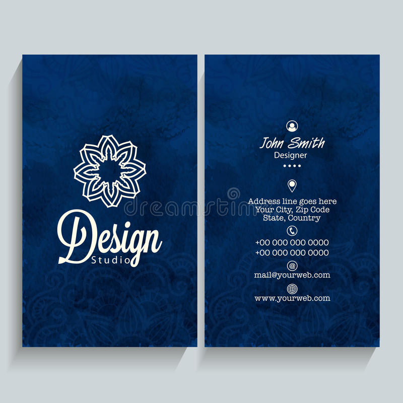 Vertical business card or visiting card stock illustration professional vertical blue business card name card or visiting card set with front and back presentation reheart Choice Image