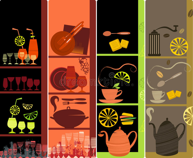 Download Vertical cafe banners stock vector. Image of modern, grunge - 10210380