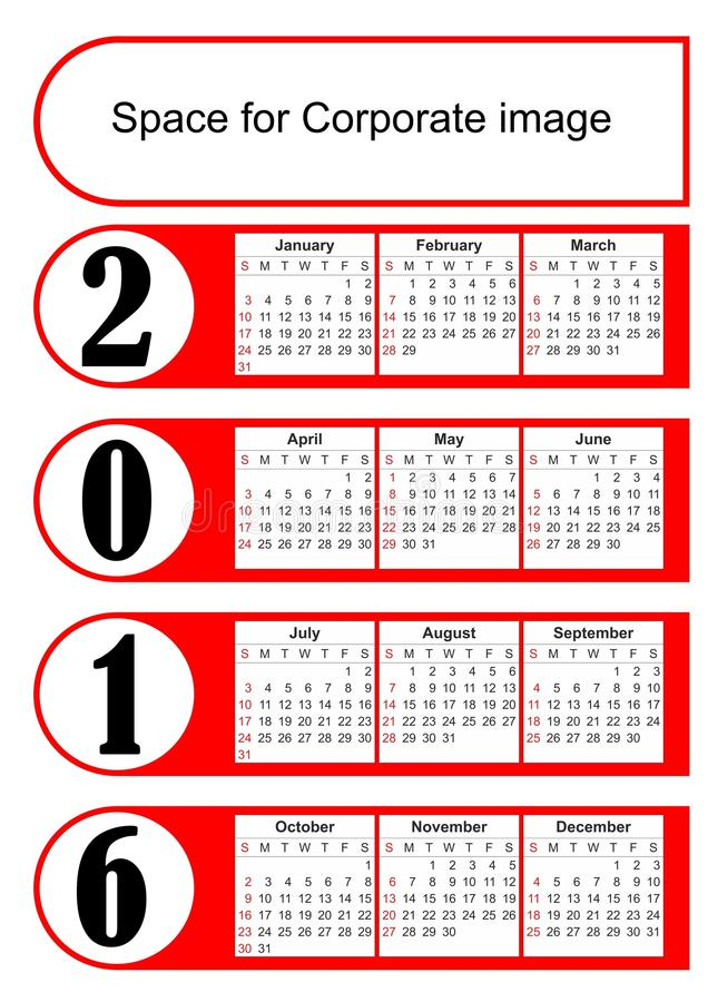 2016 Vertical Calendar With Simply Red Graphic Design Eps 10 Vector