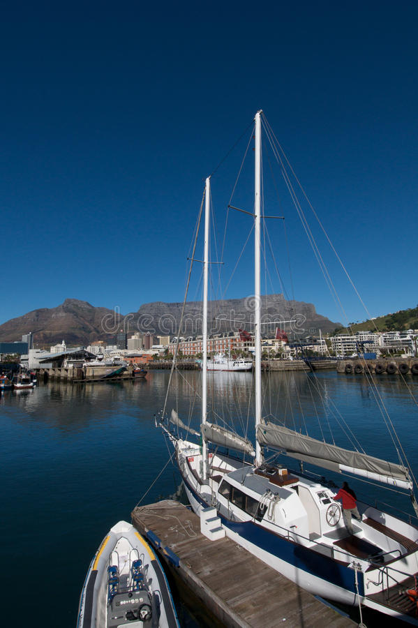 Vertical Cape Town waterfront. View towards Table Mountain from Cape Town waterfront royalty free stock photography