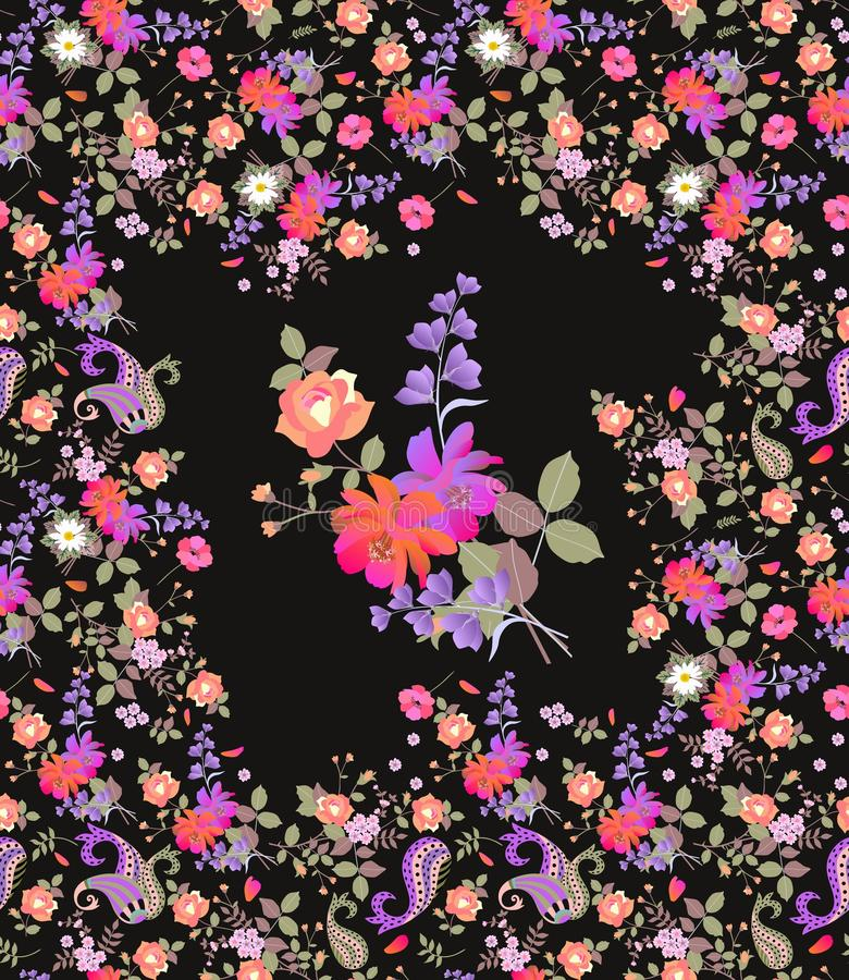 Vertical card with beautiful flowers isolated on black background. Seamless floral print for fabric. Wrapping design.  royalty free illustration