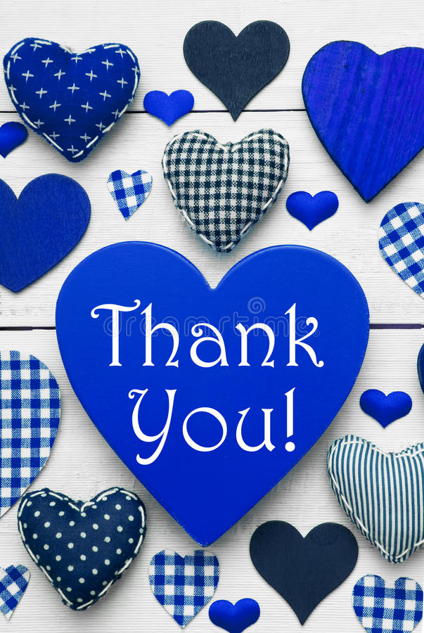 Vertical Card With Blue Heart Texture, Thank You. Blue Vertical Heart Texture With English Text Thank You. White Wooden Background. Textile Hearts Which Are stock photos