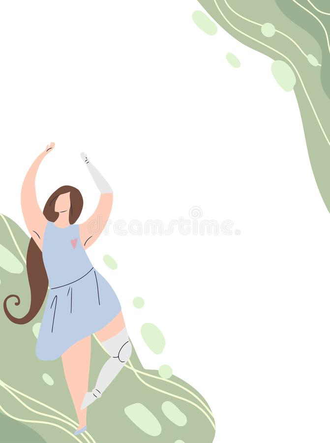 Vertical card with girl dancing with prosthetic arm and leg on abstract background. Flat banner with strong self sufficient woman. For postcards, articles. Self royalty free illustration