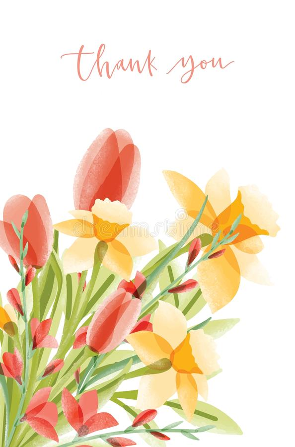 Vertical card template with lettering and bouquet of narcissuses and tulips on white background. Thank you note vector illustration