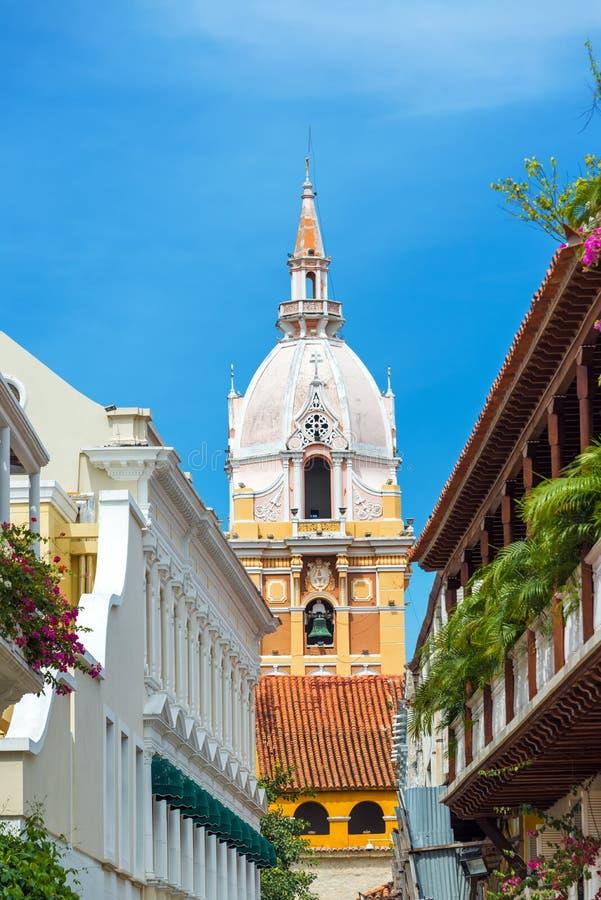 Vertical Cartagena Cathedral stock photos