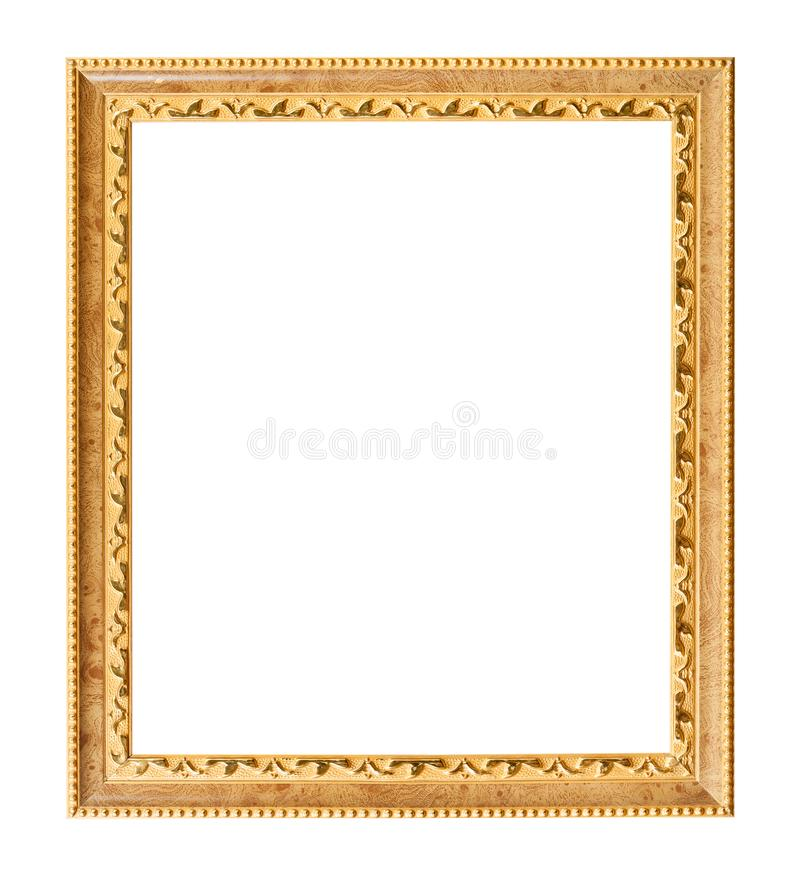 Vertical carved golden wooden picture frame royalty free stock photo