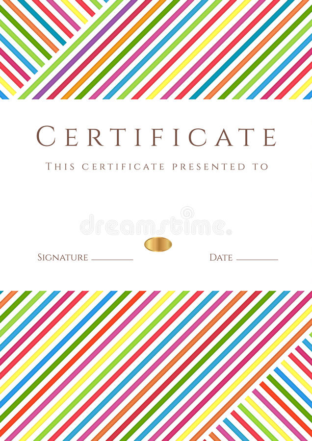 Colorful stripy certificate /diploma template stock illustration