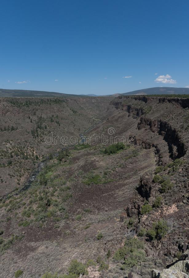 Vertical of the Chawalauna overlook in New Mexico. The Chawalauna overlook gives a wonderful view of the Rio Grande Gorge in northern New Mexico stock photo
