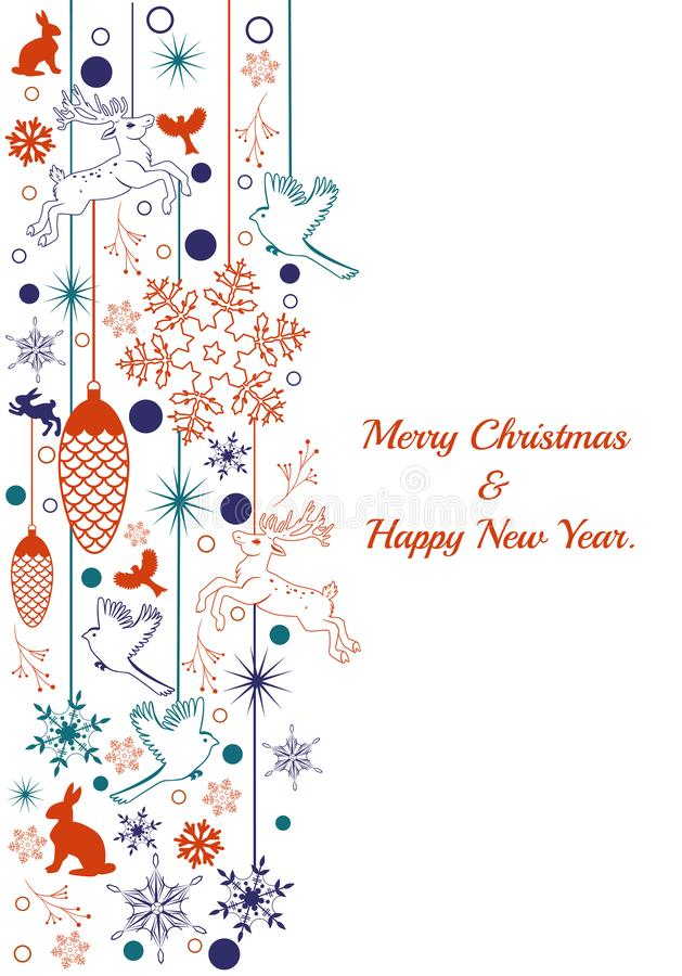 Vertical Christmas border with deers, birds, snowflakes. Vector graphics stock illustration