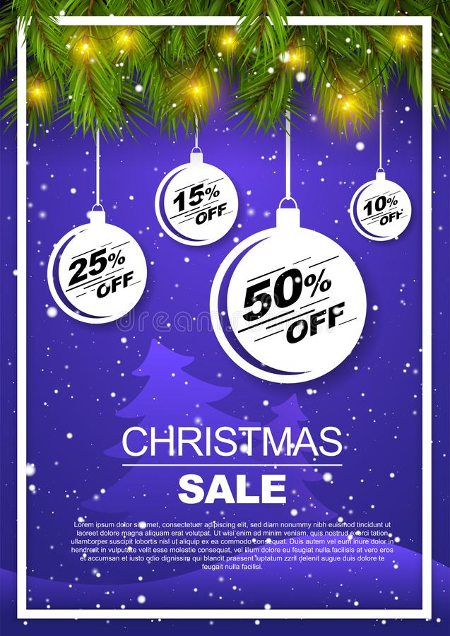 Free Vertical Christmas Discount Flyer, Banner, Poster With Snowy Landscape And Pine Needles. Royalty Free Stock Photo - 163902085