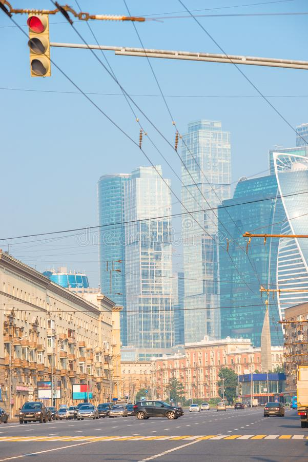 Vertical cityscape - the streets of Moscow with a view of Moscow City royalty free stock image