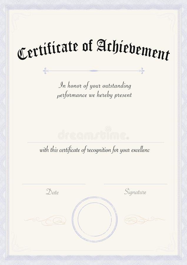 Blue Certificate Template Vertical Stock Vector