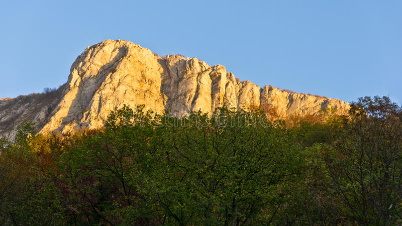 Vertical cliffs of a Miroc mountain at Djerdap National park. Shot from river Danube, Serbia stock images