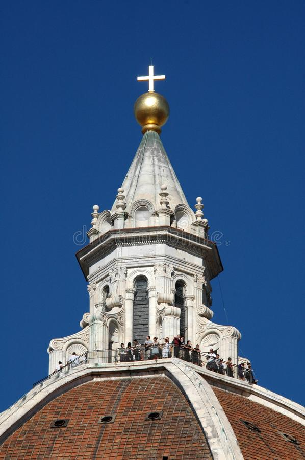 Vertical close shot of the Florence cathedral with a clear sky in the background stock image