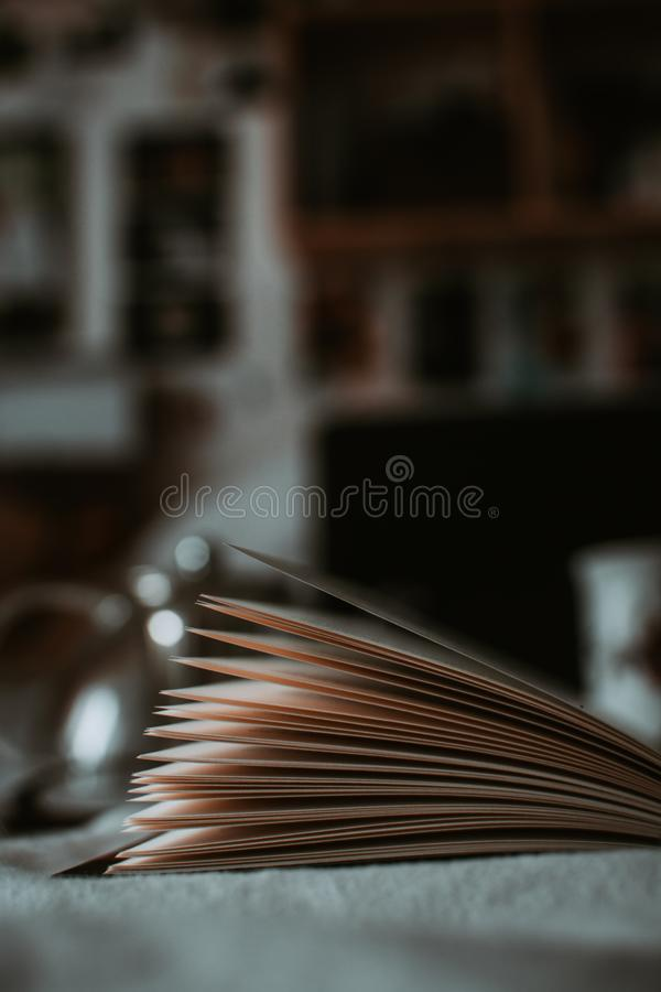 Vertical close up shot of open book pages with blurred background. A vertical close up shot of open book pages with blurred background stock photo