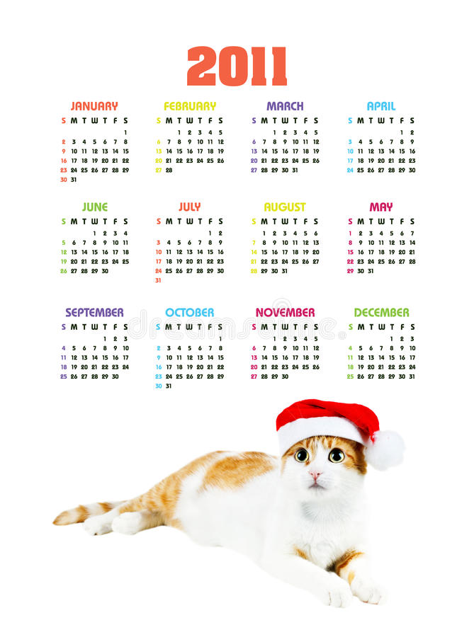 Vertical color calendar for 2011 year