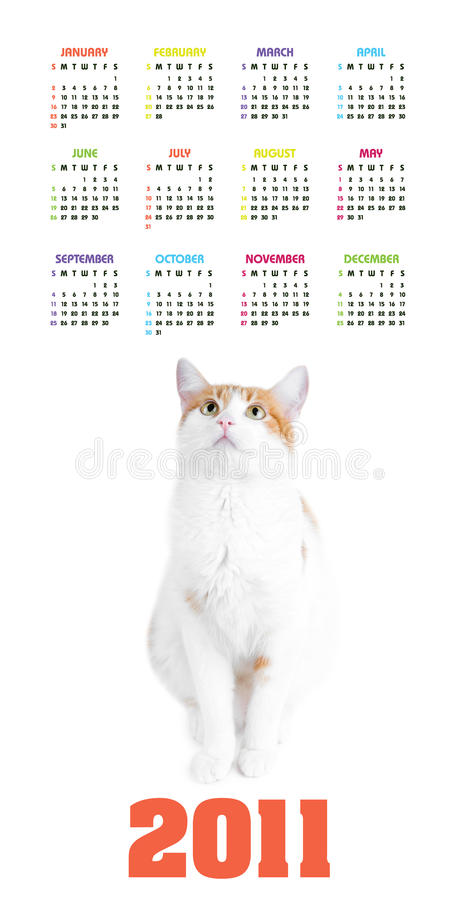 Free Vertical Color Calendar For 2011 Year Stock Photography - 17379262