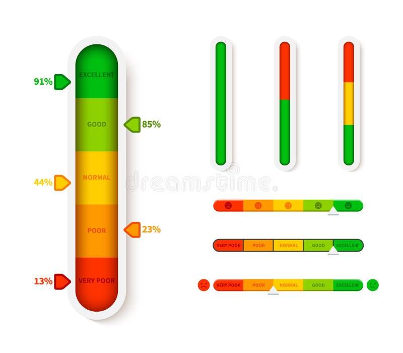 Vertical color level indicator. Progress bar template. Vector infographic illustration slider element measurement. Progression with arrow symbol vector illustration