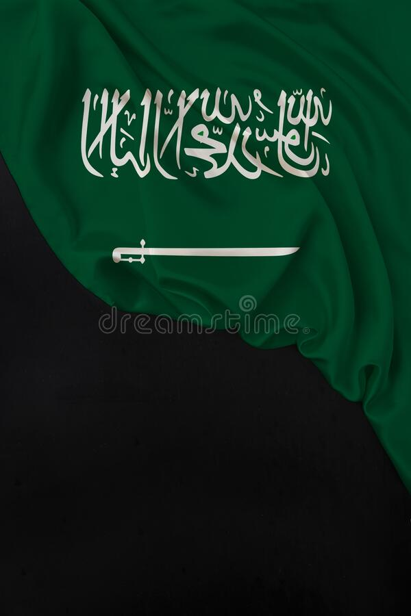 Vertical color national flag of modern state of Saudi Arabia, beautiful silk, black blank form, concept of tourism, economy,. Politics, emigration, independence stock images
