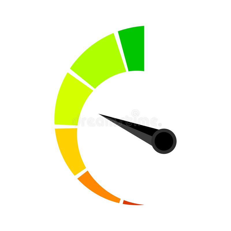 Vertical colored speedometer or barometer indicator. Illustration indicator for credit solvency vector royalty free illustration
