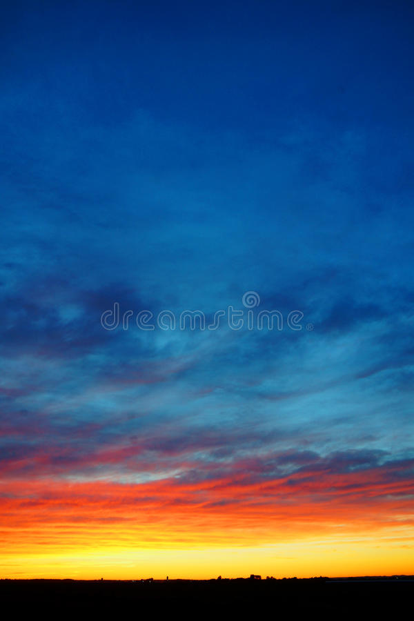 Download Vertical Colorful Sunset Over Land Stock Photo - Image: 32105076