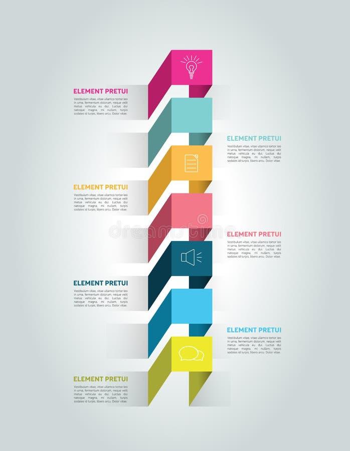 Vertical 3D timeline concept. Infographic. Vector stock illustration
