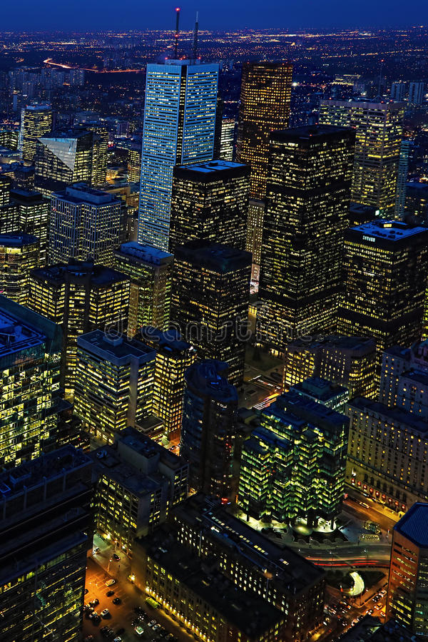 Vertical of after dark aerial of Toronto city center. A Vertical of after dark aerial of Toronto city center stock photo
