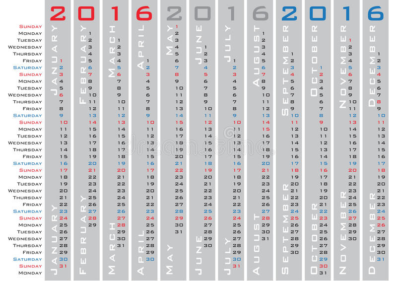 Vertical Days Calendar 2016 Template Stock Vector Illustration Of