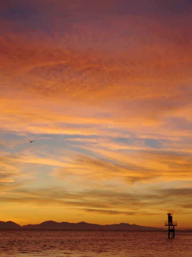 Vertical de la puesta del sol de la boca de río de Fraser fotos de archivo