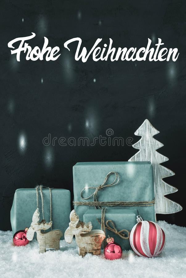 Vertical Decoration, Calligraphy Frohe Weihnachten Means Merry Christmas royalty free stock photography