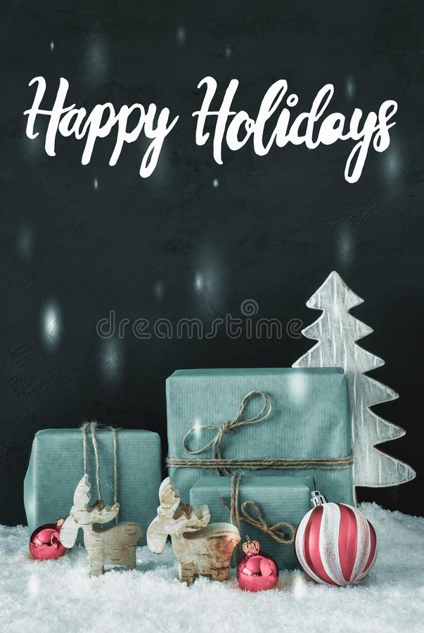 Vertical Decoration, Calligraphy Happy Holidays, Frosty Look royalty free stock photography