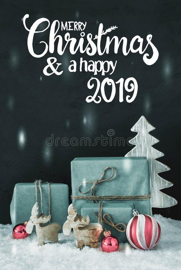 Vertical Decoration, Calligraphy Merry Christmas And A Happy 2019 royalty free stock photos