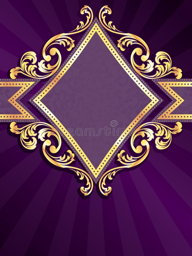 Vertical diamondshaped purple banner with gold fil vector illustration