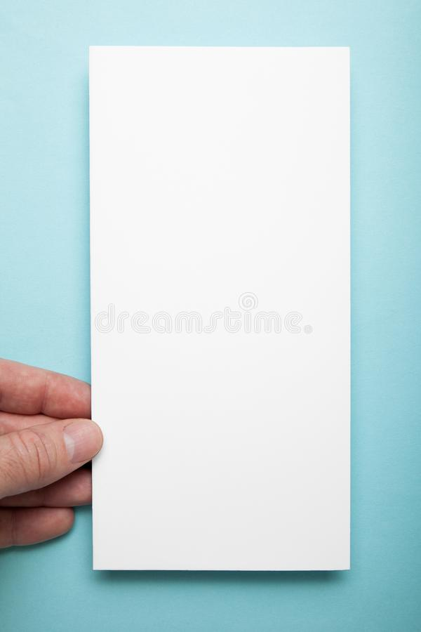 Vertical DL flyer in man hand on a blue background.  royalty free stock images
