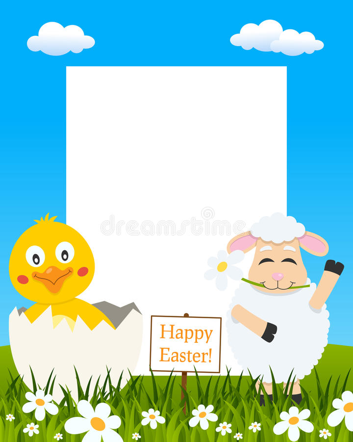 Vertical Easter Frame - Chick & Lamb royalty free stock images