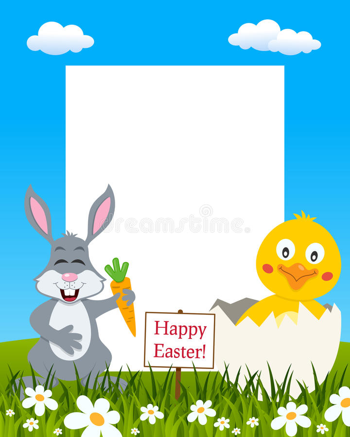 Vertical Easter Frame - Rabbit & Chick royalty free stock images