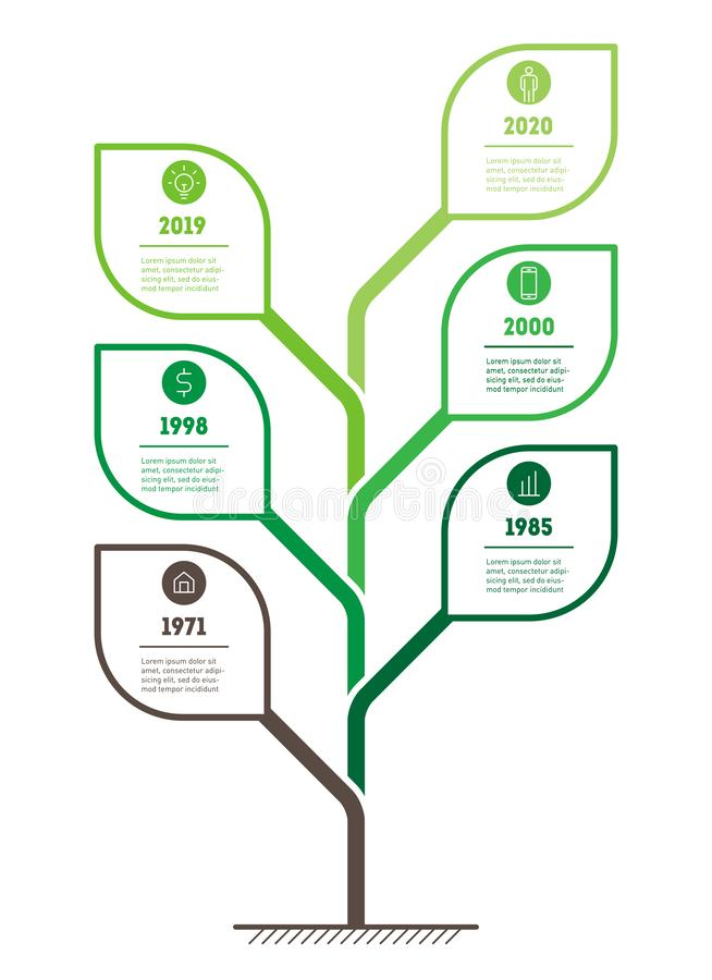 Vertical eco Business presentation concept with 6 options. Template of abstract tree, info chart or diagram. Vector infographic of. Technology or education stock illustration