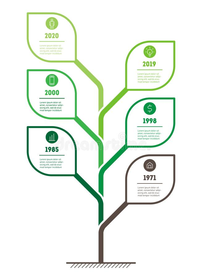 Vertical eco Business presentation concept with 6 options. Template of tree, info chart or diagram. Green Infographic of. Technology or education process with stock illustration