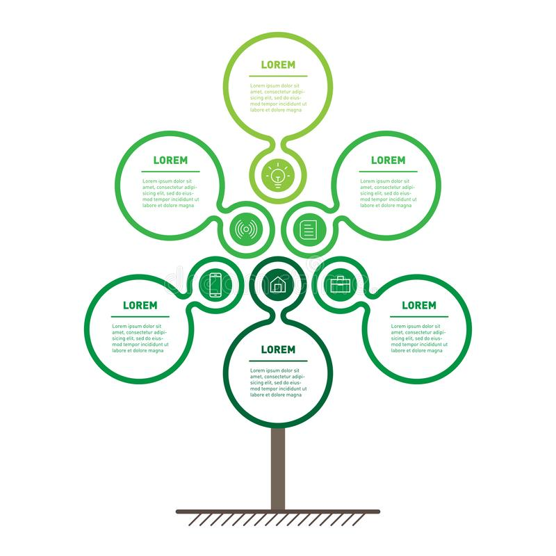 Vertical eco Business presentation concept with 6 options. Web T. Emplate of abstract tree, info chart or diagram with icons. Vector infographic of technology or stock illustration