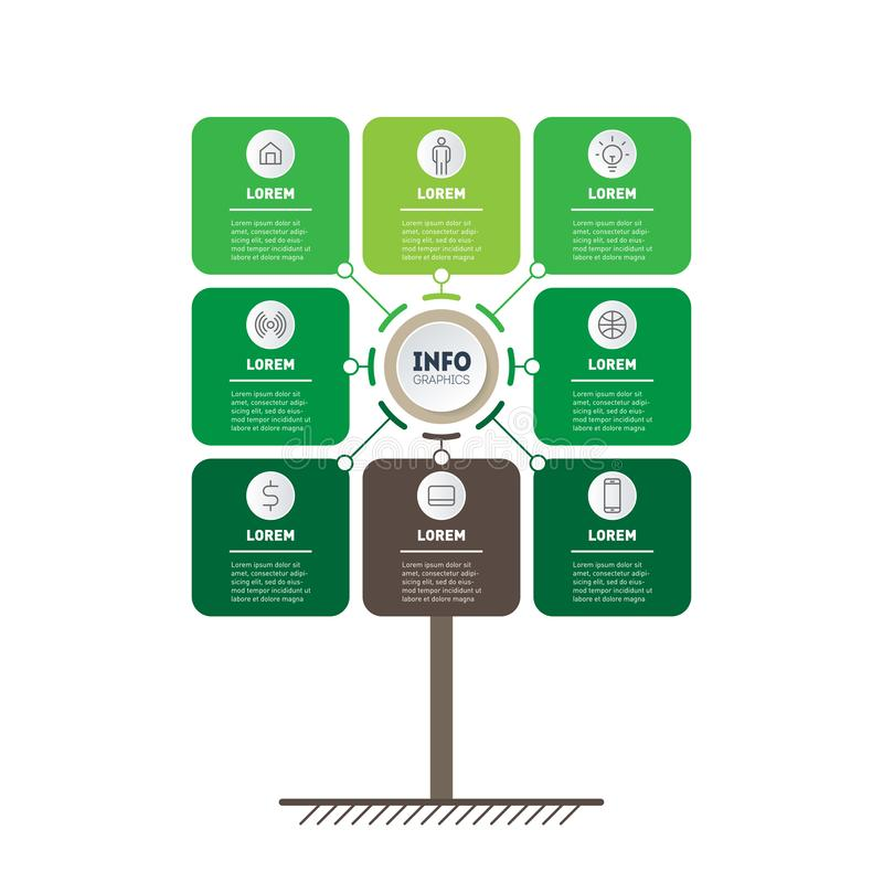 Vertical eco Business presentation concept with 8 options. Web Template of tree, info chart or diagram. Vector infographic of. Technology or education process royalty free illustration