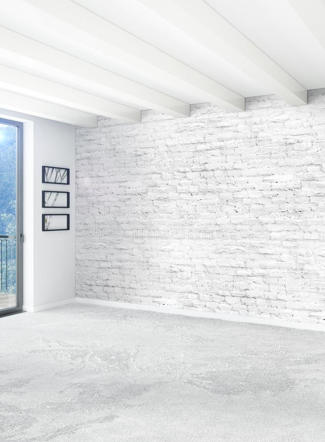 Download Vertical Empty Room In Minimalism Style Interior Design With Stylish Wall And 3D Rendering
