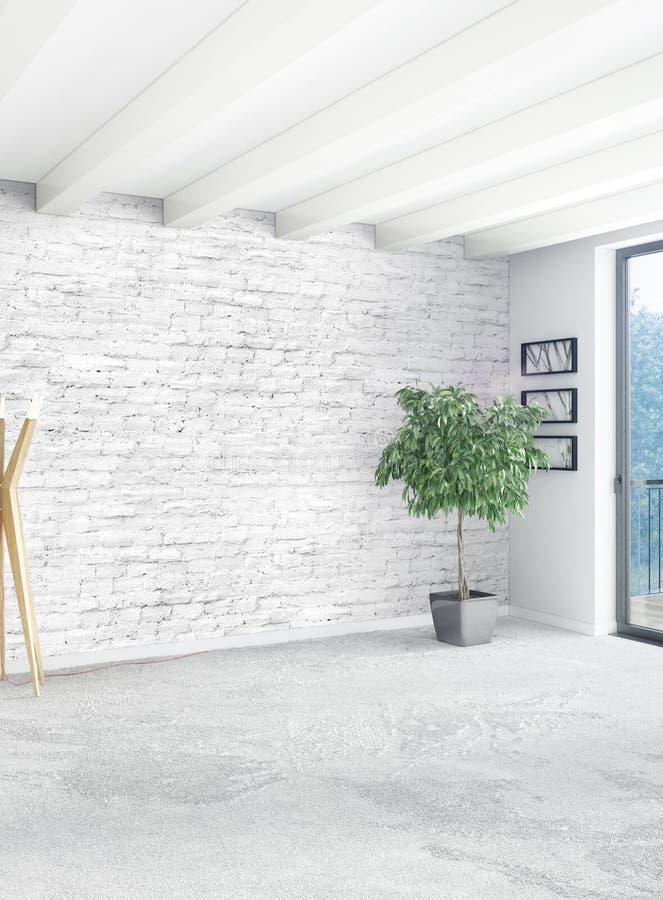 3d Room Interior Design: Vertical Empty Room In Minimalism Style Interior Design