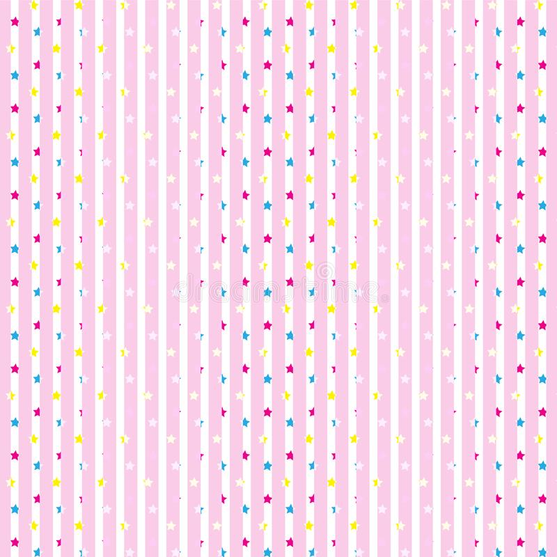 Vertical en colores pastel y blanca rosada suave rayada con el fondo colorido del modelo de estrellas imagen de archivo