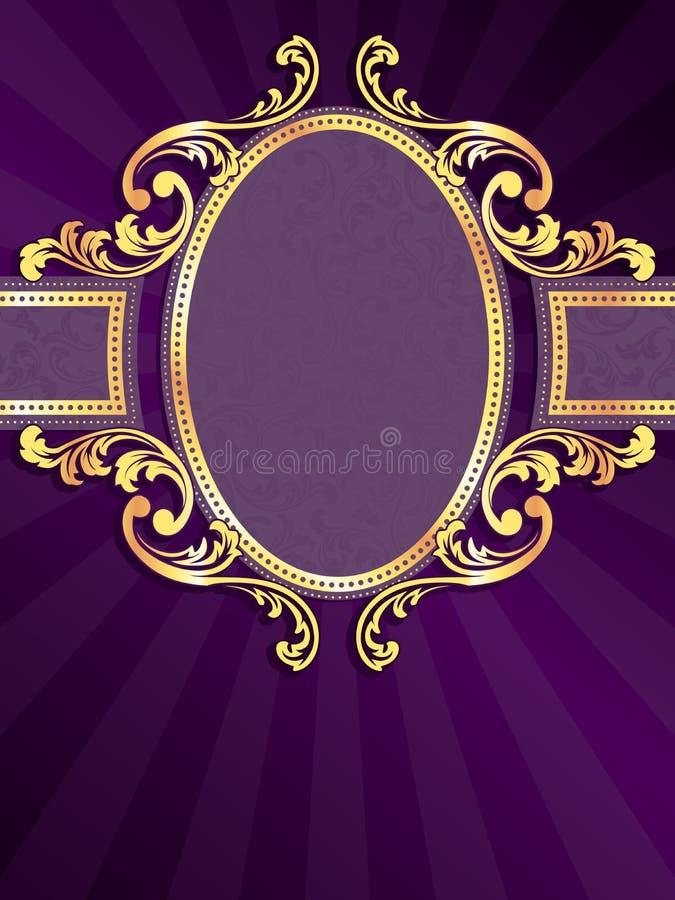vertical för filigree guld för baner purpur royaltyfri illustrationer