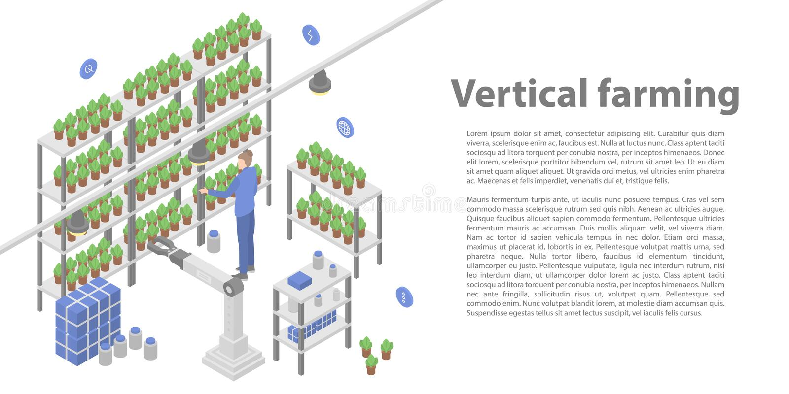 Vertical farming concept banner, isometric style vector illustration