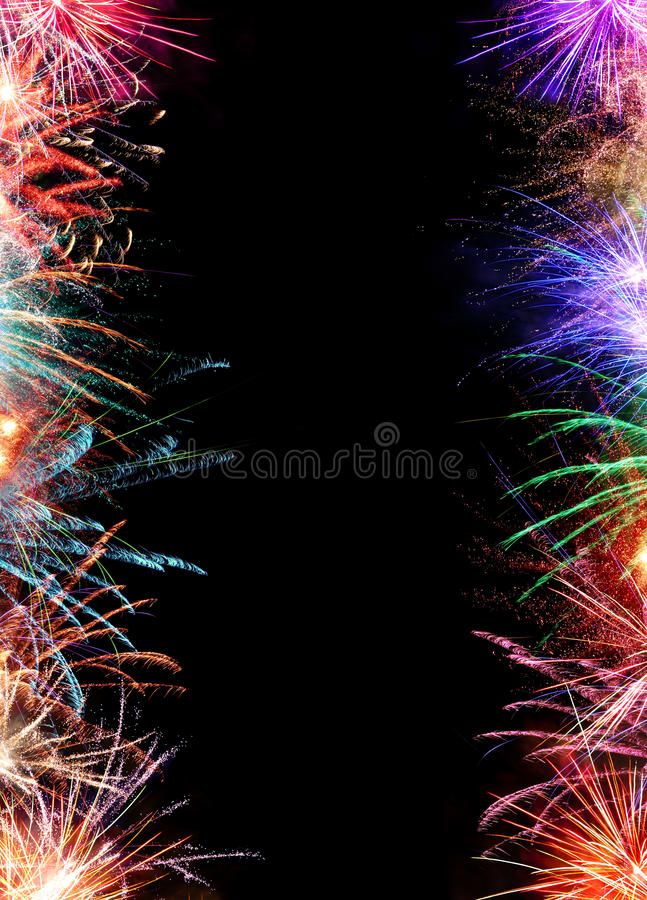 Vertical Fireworks Border royalty free stock image