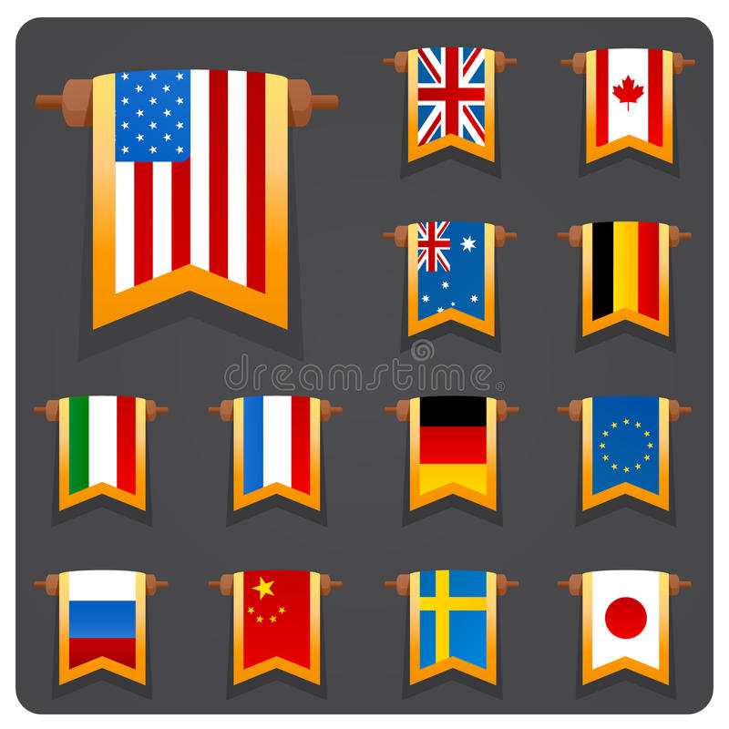 Vertical Flags Main Coutries Royalty Free Stock Photos